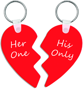 Sublimatable Two-Part Heart Keychain