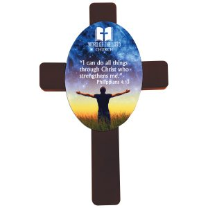 Mahogany Cross with Sublimatable Hardboard Oval Insert
